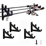 Horizontal Rod Rack for Fishing Rod Wall Rack Storage-Ultra Sturdy Strong Weatherproof Holds 3 Rods-...