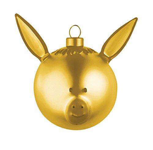 Alessi Amj13 5 Gd Asinello Boule de Noël en Verre Soufflé, Colorée or, decorée à la Main, Set de 4 Pièces