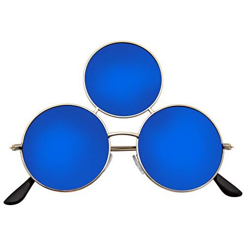 Emblem Eyewear - Occhiali da sole Cerchio Rotondi Triplicare Occhiali da sole (Specchio blu)
