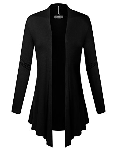 BIADANI Women Open Front Lightweight Cardigan with Side Pockets Black Large