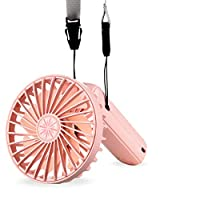 【2020年最新】携帯扇風機 HENW ハンディファン ミニ 小型 卓上扇風機 USB充電式 扇風機 ミニ扇風機 モバイル扇風機 ポータブル扇風機 節 大風量 300度折 回転機能 手持ち/卓上/首にかける対応(ピンク)