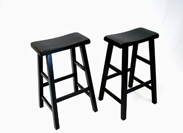 EHemco 29 Heavy Duty Saddle Seat Bar Stool In Antique Black Set Of 2