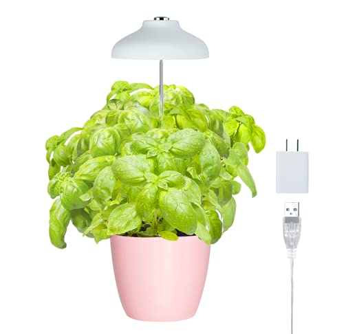 GrowLED LED Umbrella Plant Grow Light, Herb Garden, Height Adjustable, Automatic Timer, UL Adapter Included, Ideal for Plant Grow Novice Or Enthusiasts, Various Plants, DIY Decoration, White