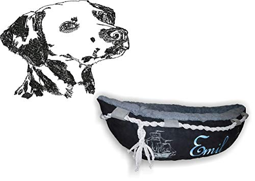 LunaChild Hundebett Hund Boot Böötchen Dalmatiner 1 Hundeboot Sofa Lounge Hundelounge mit Name Wunschname Snuggle Bag Größe XS S M L viele Farben Hundekorb