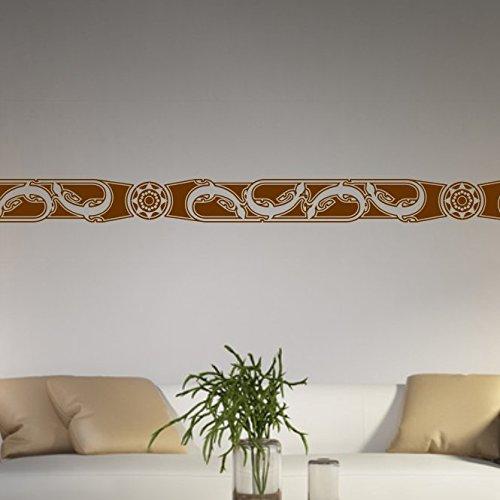 malango Afrikanische Bordüre Wandtattoo Aufkleber Wandaufkleber Dekoration Schlafzimmer Wohnzimmer Styling Design 18 x 131 cm grau