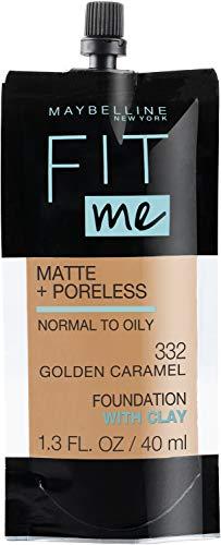 Maybelline New York Fit Me Matte + Poreless Liquid Foundation, Pouch Format, 332 Golden Caramel, 1.3 Ounce
