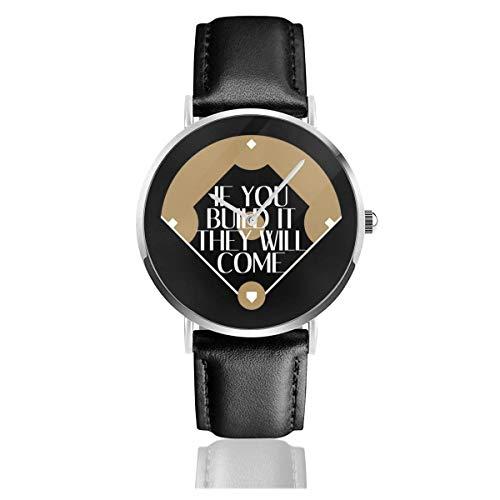 Wenn Sie es Bauen, Werden sie kommen Feld der Träume Uhren Quarz Lederuhr mit schwarzem Lederband für Sammlung Geschenk