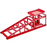 BestEquip 11000lbs Hydraulic Car Ramps, 5T Hydraulic Vertical Ramps, Auto Truck Service Ramp Hydraulic Lift Car Ramps Heavy Duty Steel Car Ramp, Low Profile Hydraulic Ramp w/Hydraulic Jack, 1-Pcs Red