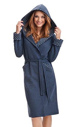 DOROTA kuscheliger und moderner Baumwoll-Bademantel mit Taschen, Bindeband & Kapuze, dunkelblau-gepunktet, Gr. XL