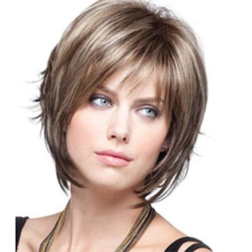Fleurapance Perücke für Damen, kurz, natürlich, blondes gewelltes Haar, gelockt, braun, schwarz, synthetisch, mit Fransen, hitzebeständig wie Echthaar, Unisex, Perücke