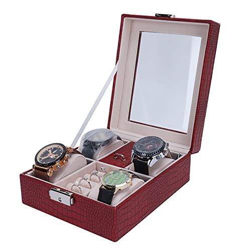 Ong Organizador de Caja de Reloj, Organizador de Caja de exhibición de Reloj de Madera Retro, Cerradura con Tapa abatible portátil con Almohada Desmontable para joyería y Reloj para Hombres