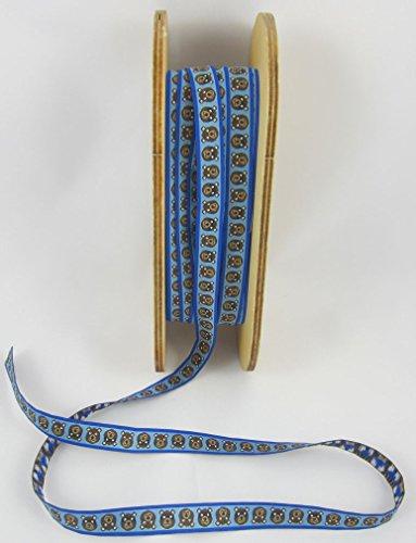Designer: Lila-Lotta Design Helmut der Superheld, Bleu, Marron, Couleur Mix, Ruban tissé, Vendu au mètre, 1 mètre
