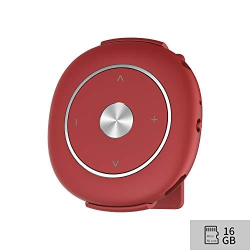 Lettore MP316GB, lettore audio lossless Sound musica digitale portatile con clip e auricolari per running espandibile fino a 128GB Micro SD Card (rosso)