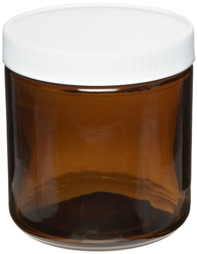 Greenwood Products 05-16SST123 16oz Amber Straight Sided Jar Assembled w/89-400 PTFE Lined Cap, Certified (12/cs)