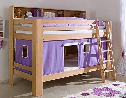 Froschk g24 Etagenbett JAN Kinderbett Spielbett Bett mit Bücherregal Buche Lila Weiß Matratzen Oben unten ohne