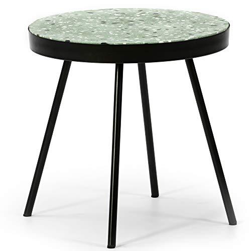 VS Venta-stock Beistelltisch Kandi runder Couchtisch mit grüner Terrazzo-Platte und Metallbeinen in mattem Schwarz/Durchmesser Farbe: 40 cm