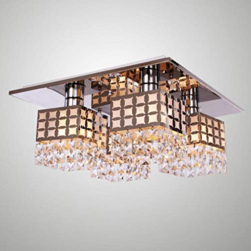 Hai Ying Moderne eenvoudige led-kristallen vierkante lampenkap plafondlamp met chromen afwerking en 4 x E27 40 W elegante kroonluchter voor woonkamer eetkamer slaapkamer