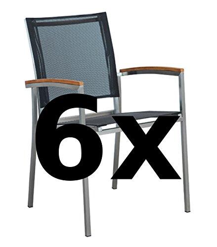 ASS 6Stk Designer Gartenstuhl mit Armlehne Kuba-SCHWARZ Gartensesse Stapelsessel Stapelstuhl Sessel Edelstahl Batyline Textilene Teak stapelbar sehr robust Gastroqualität