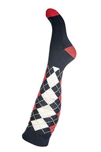 HKM Erwachsene Reitsocken -Windsor Socken, dunkelblau/Rot, 35/37