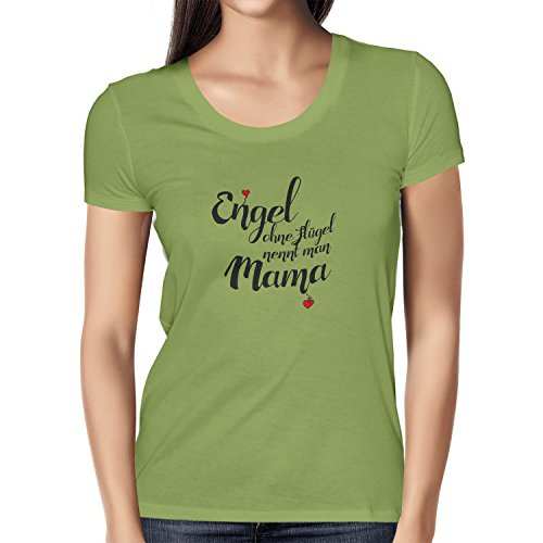 Texlab Damen Engel ohne Flügel Nennt Man Mama T-Shirt, Kiwi, L