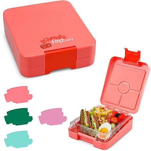 schmatzfatz Easy Kinder Snackbox, Bento Box mit unterteilten Fächern, Lunchbox (Coral)