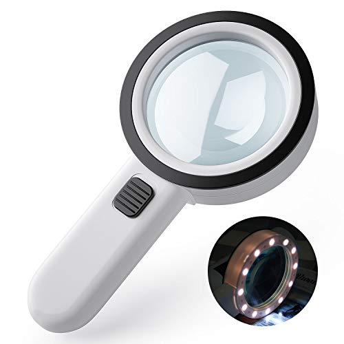 Lupe mit Licht 12 LED 30X Handlupe Beleuchtet, HOMPO Leselupe groß mit Doppelglaslinse für Kleingedruckten, Schmuck, Münzen, Briefmarken, Karten, Handwerk, Hobbies Kinder ältere Menschen