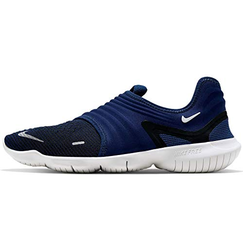 Nike Men's Free Rn Flyknit 3.0 Competition Running Shoes, Blue Void/Metallic Silver/Black, 8 UK
