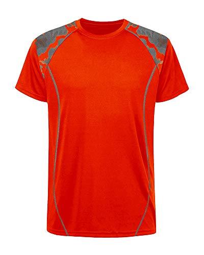 Mens Sports Graphic T-Shirts Stretch Workout Top Shirt Short Sleeve Soccer Jersey Streetwear Men Orange Small