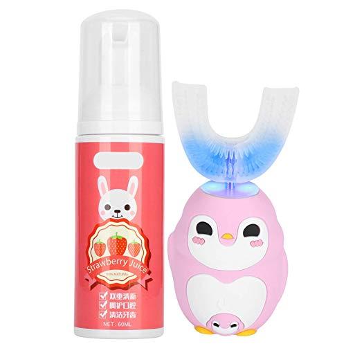 Cepillo de dientes eléctrico ultrasónico de silicona para niños con mousse de 60 ml, herramienta de limpieza de dientes con diseño de dibujos animados