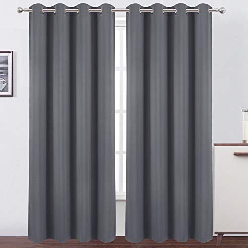 LEMOMO Blackout Curtains 52 x 84 Inch/Grey Curtains Set of 2 Panels/Thermal Insulated Room Darkening Curtains for Bedroom(52 x 84 Inch,Gray)