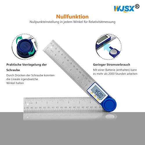 WJSX Goniometro Digitale Angolometro Digitale 2 in 1, Funzione Zeroing e Blocco, Risoluzione 0,01, 200 mm, Display Digitale LCD a 360°, Ideale Per Artigiani e Fai-Da-Te