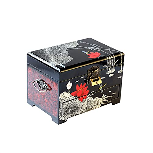 YIXINHUI Cajas de joyería Jewelly Box de Madera para Mujeres de Almacenamiento de 3 Niveles con Cerradura y Llave Chino Tradicional Pintado a Mano Grabado de Pantalla Organizador (Color : B)