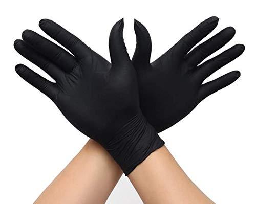 Guanti usa e getta senza polvere, guanti in nitristo, 100 fogli, XS, Nero , 1