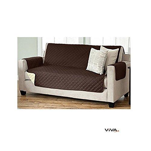 Viva Living Wende Sesselschoner Sofaschoner Sesselschutz Sofaüberwurf mit Armlehnen und Taschen (3- Sitzer 191 x 279 cm, braun/beige)