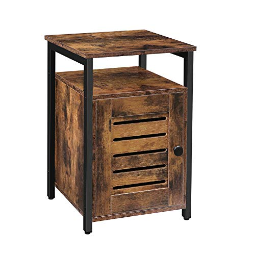 HOOBRO Nightstand, Shutter End Table with Switchable Door and Inner Storage, Square Side Table, Wood Accent Industrial Sofa Storage Cabinet in Bedroom, Reception Room, Rustic Brown BF85BZ01