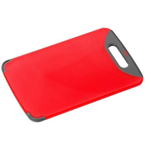 Silit Schneidebrett 32 x 20 cm, rechteckig, Kunststoff, praktischer Griff, spülmaschinengeeignet, klingenschonend, rot