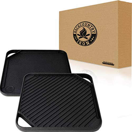 Backcountry Iron Single Burner Reversible Square Grill/Griddle, 10 Inch Pre-Seasoned Cast Iron