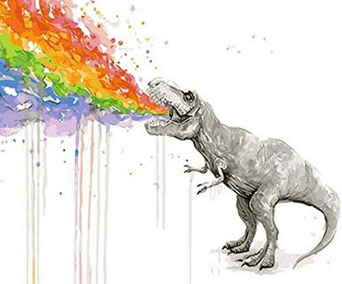 Pintura por número Pintura digital para principiantes adultos con pintura al óleo de dinosaurio en lienzo colorido de bricolaje -40x50cm