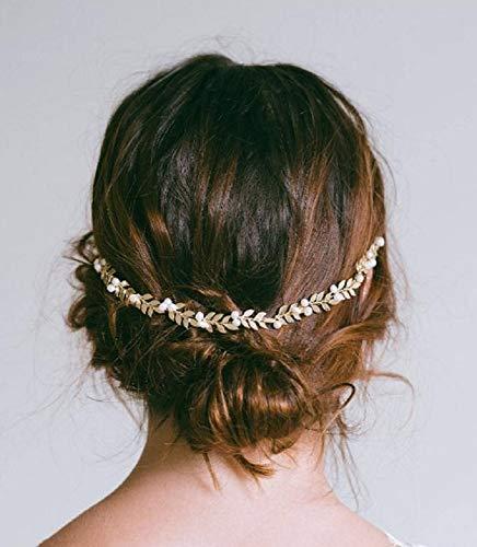 Cathercing Diadema de encaje suave para dama de honor con diseño de hojas griegas de color dorado, accesorio para el pelo, para jardín, boda, fiesta de graduación