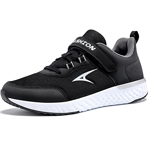 ASHION Kinder Turnschuhe Jungen Sneaker Hallenschuhe Mädchen Sportschuhe Mesh Atmungsaktiv Laufschuhe Straßenlaufschuhe für Unisex-Kinder(I Schwarz Weiß,32 EU)