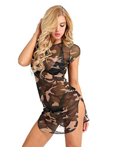 iEFiEL Damen Transparent Kleid Camouflage Minikleid Cheongsam Meshkleid Kurzarm Kleid mit Seite Split Nachtkleid Negligees Camouflage L