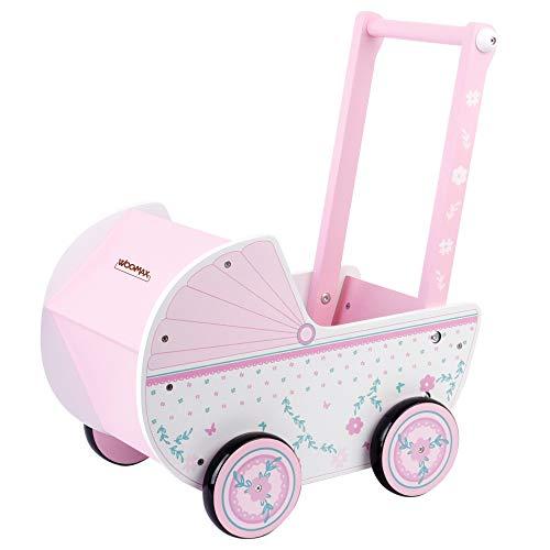 WOOMAX - Carrito de madera para muñecas WOOMAX, 26,5x39x46 cm, rosa y blanco, con ruedas, para muñecos de 30-40, carrito bebe juguetes 3 años, cochecitos para muñecos (46475)