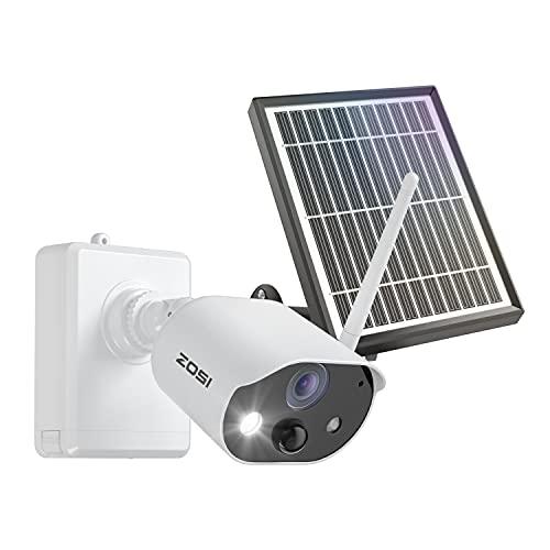 ZOSI C306 1080P Caméra de Surveillance WiFi Extéreure, Caméra IP de Batterie Rechargeable 7800mAh avec Panneau Solaire, Audio Bidirectionnel, Vision Nocturne Couleur Alarme Sonore et Lumineuse