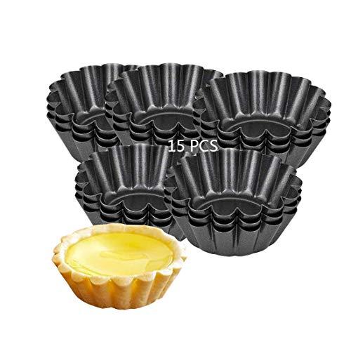 15pcs Stampi di Crostate Uova, Antiaderenti Forme per Crostatine, Riutilizzabile Stampo Crostata Cupcake, Stampi Mini Tortine in Acciaio al Carbonio per Budino,Teglia,Cioccolati (Nero),Torte Biscotti