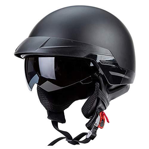 ACEMIC Casco de motocicleta retro de punto abierto, medio casco para hombre y mujer, casco de motociclista machete cruiser scooter casco de motocicleta A, M = 57 ~ 58 cm, visera solar