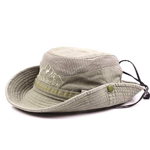 Algodón Cubo Sombreros para Los Hombres Simple Bordado Protección UV Sun Pescador Sombrero Transpirable Cap Sunshape De Malla para La Pesca De La Caza Al Aire Libre Activies