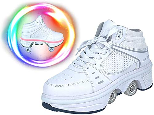 LEEFISH Rollschuh Roller Skates Lauflernschuhe,Sneakers,2in1 Mehrzweckschuhe Schuhe Mit Rollen Skateboardschuhe,Inline-Skate,Verstellbare Quad-Rollschuh Stiefel Skateboardschuhe,38