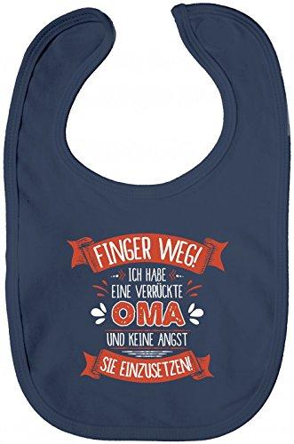 Shirt Happenz Baby Spruch Oma Lätzchen | Finger Weg | Oma | Verrückt | Sabberlätzchen | Baby-Lätzchen, Farbe:Blau (Nautical Navy BZ12);Größe:OneSize
