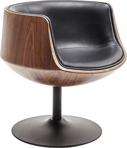 Kare Design Club Chaise pivotante en Cuir synthétique avec Dossier en placage de Bois et Pieds en Tuba Noir 75 x 62 x 61 cm