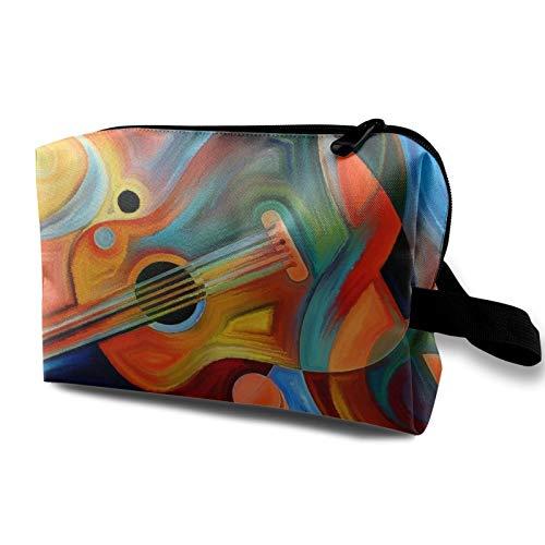 Borsa da viaggio in tela per trucchi, portatile, piccola borsa per cosmetici, per ragazze, donne, uomini, note musicali e chitarra